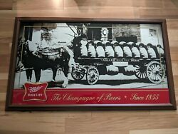 Rare Huge 47x26 Miller High Life Beer Sign Mirror Horses Buggy