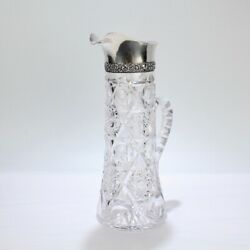 Antique Brilliant Period Sterling Silver Mounted Cut Glass Cocktail Pitcher - Gl