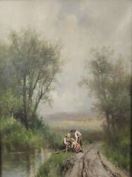 Signed American William H. Couper 1853-1942 River Landscape Oil Painting 1 2d