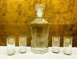 Vintage Luminarc France 5 Piece Clear Glass Decanter And Shot Glass Set