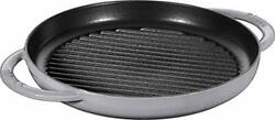 Staub 40509-522 Grill Pan Pure Round Gray 10.2 Inches 26 Cm Both Hands