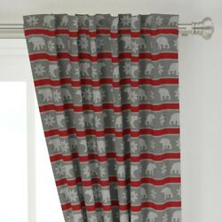 Bear Snowflake Winter Sweater Yarn Knitting 50 Wide Curtain Panel By Roostery