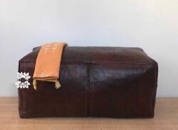 Leather Customized Moroccan Pouf Ottoman Footstool Hassock Pouffe Hand Crafted