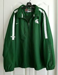 Mens Nike Michigan State Spartans Back Vented Full Zipper Coaches Jacket Size Xl