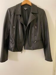 Dkny Black Leather Biker Chic Moto Jacket W/ Stunning Details And Silver Hardware