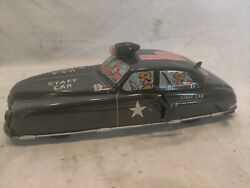 Vintage Rare 1952 Marx Wind-up Tin Military Army Staff Car, Works. Very Clean.