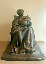 Rare Large Antq/vin Sculpture Of Young Mother By Bessie O. Potter Vonnoh