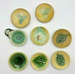 Rare 1800's Antique Majolica Pottery Butter Pats Excellent