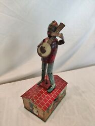 Vintage Rare Jazzbo Jim Dancer On The Roof Wind-up Tin Litho Toy. Works. Nice.
