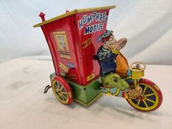 Antique Tin Wind Up Humphrey Mobile Toy By Wyandotte Toys. Working. Great Color