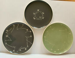 Russel Wright Harkerware Chop Plates In Charcoal And Green + Dinner In Charcoal