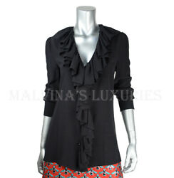 Blouse Ruffled Front Top Interlocking G Logo Buttons 1200 It 46 / Us 10
