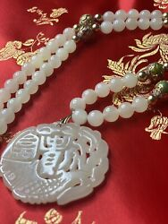 Antique Chinese White Nephr Jewelry Hetian White Jade Necklace Cloisonnandeacute Bead