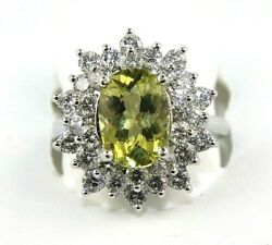Oval Green Tourmaline And Diamond Halo Solitaire Ring 14k White Gold 4.52ct