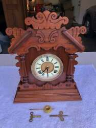 1910andrsquos Antique Ansonia Mantel Kitchen Shelf Clock Working Correctly In Oak