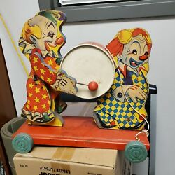 Vintage The Gong Bell Mfg. Co. Clowns Pull Toy Excellent Condition Also Get Free