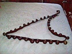 Antique Graduated Sleigh Bells On Leather Strap