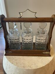 Antique Tantalus Oak Decanter Set With Lock And Key