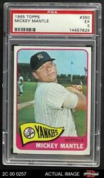 1965 Topps 350 Mickey Mantle Yankees Psa 5 - Ex