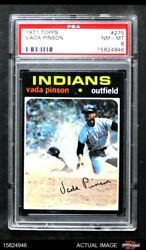 1971 Topps 275 Vada Pinson Indians Psa 8 - Nm/mt