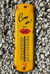 Vintage Kist Porcelain Thermometer Sign 17 Gas Station Soda Fountain Drink Coke