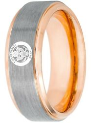 Tungsten King Two-tone Rose Gold/gun Metal Ion Plated 8mm Military Logo Unisex