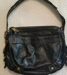 Fossil Fifty Four Leather Hobo Black EUC $40.00