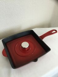 Cooks Tradition Red Enamel Cast Iron Panini Press And Grill Fry Pan Skillet