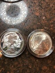 Sasa 2001-p And D Buffalo Commemorative Silver Proof And Unc Dollar
