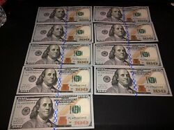 9 One Hundred Dollar Bill Sequential Order Uncirculated