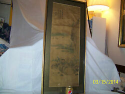 Antique Oldchinese Qing Dy Original Panel Painting On Silk Paper Signed Framed