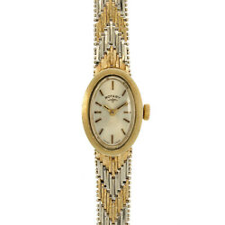 Ladies Vintage Rotary 9ct Yellow And White Gold Bracelet Swiss Manual Wound Watch
