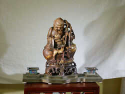 Rare-antique Chinese C1800and039s Stone Sculpture Immortal Statue W/cloisonne Censors