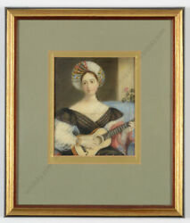 Lady In Turban Playing Guitar Large Victorian Miniature 1830s