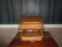 Longaberger Wrought Iron Paper Tray Stand With 2 Baskets And Lid And Protectors