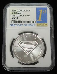 2016 Canada Superman 1oz 5 .9999 Silver Coin Ngc Ms70 First Day Of Issue Rare