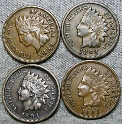 1889 1893 1894 1907 Indian Cent Penny ---- Nice Condition Us Coin ---- S568