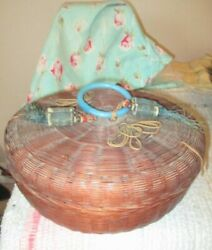 Antique Round Wicker Sewing Basket With Tassels And Contents