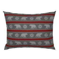 Bear Snowflake Winter Sweater Yarn Knitting Pillow Sham By Roostery