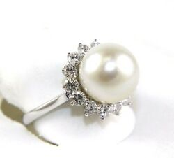Natural South Sea Pearl And Diamond Halo Solitaire Ring 14k White Gold 13mm 1.67ct