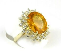 Natural Oval Mexican Fire Opal And Diamond Halo Ladyand039s Ring 14k Yellow Gold 5.44ct