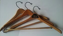 Vintage Wooden Clothes Hangers, Bynum's Mens Wear Stores, Lot Of Three