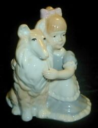 Country Lass Pet Collie Dog In Pastel Porcelain By George Gold Corp - Xlnt Cond
