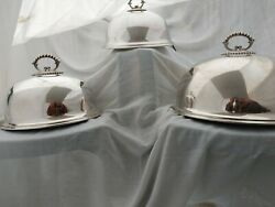 Rare Set Graduated Mappin And Webb Antique Silver Plate Food Dome Covers Quality