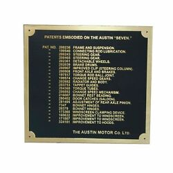 Austin 7 Seven Ruby Car Dashboard Patents Plate Badge Brass Plate 1937-39 A @ca