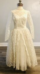 True Vintage 1950 Wedding Gown Sears Long Sleeve Princess Lace Crystal Pleated