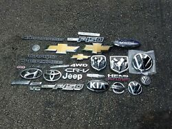 Used Lot Of Chevy Ford Vw Dodge Hyundai Jeep Grille Fender Door Trunk Emblems