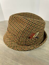 Vintage Mens Size 7-1/8 Fedora Houndstooth Wool Hat With Red Feather Plaid