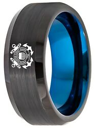 Tungsten King Two-tone Black Ion Plated Brushed Center 8mm Military Logo Unisex