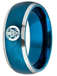 Tungsten King Two-tone Blue Ion Plated Brushed Center 8mm Military Logo Unisex